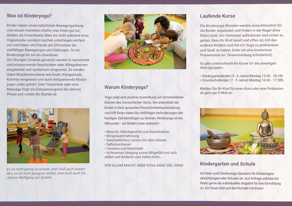 Flyer Kinderyoga by Silvi